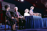 Rosalynn Carter addressing the Women and the Constitution conference with Lady Bird Johnson and...