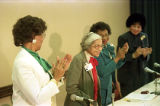 Rosa Parks on a panel with Linda Brown Smith, and DeLores Tucker speaking at the Women and the...