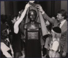 Georgia Governor Jimmy Carter and Girl Scouts unveiling bronze bust of Juliette Low, in the...