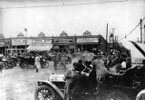 Vehicles from the Good Road Tour parked in Martinsville, Virginia, 1910