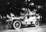 Automobile displaying Atlanta Journal and Herald flags during the Good Roads Tour, 1910