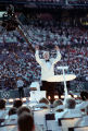 Composer John Williams leading the Atlanta Symphony Orchestra during the Olympic opening...
