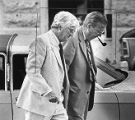 Murder suspect Keller Wilcox's father arriving at the courthouse before the trial, 1981