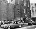 Mourners outside Ebenezer Baptist Church for the funeral service of Alberta Williams King, 1974