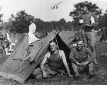 Officers setting up tents in a training camp at Fort McPherson during World War I, 1917