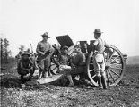 Soldiers at Camp Gordon with field artillery during World War I, 1918