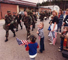 Crowd gathers to see off National Guard Troops heading to the Middle East, 1990