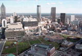 Aerial view of Centennial Olympic Park looking towards downtown Atlanta, 1999