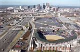 Aerial view of Turner Field looking towards Atlanta skyline with view of expressway, 1999