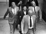 Atlanta Child Murders suspect Wayne Williams being escorted from court back to jail under guard,...