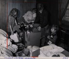 Children unpacking as they move into an Atlanta Housing Authority mobile home, Atlanta, Georgia,...