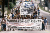 Atlanta Gay Rights Alliance and others leading the Pride parade through Atlanta, 1977