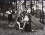 Girl Scouts pitching a pup tent, Atlanta, Georgia, June 1965.