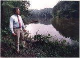Lewis Jones looking at the site where the Hickory Log Creek Dam and Reservoir will be built,...