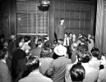 "Herman Talmadge addressing an audience during the ""Three Governors Controversy,""..."
