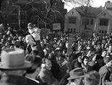 "Crowds demonstrating outside the State Capitol, during the ""Three Governors..."