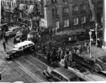 Emergency vehicles at the disastrous Winecoff Hotel fire, December 7, 1946.