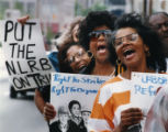 Labor protest, Coalition of Black Trade Unionists, New York chapter, marching in front of the...