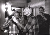 Tom Fox and his friends, many also AIDS patients, during a New Year's celebration at his house in...