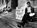 Rally in support of Atlanta's homeless population's right to food and shelter, demonstrator Lois...