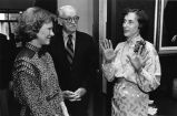 Rosalynn Carter (left) and Chester Kerk, greeted by Olive Ann Burns at a party in her honor, the...