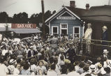Hand-colored photograph of president Franklin Delano Roosevelt visiting Warm Springs, Georgia,...