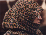 Portrait of a Muslim woman in a scarf, Middle East or South Asia, photograph by Jean Shifrin, 1992.