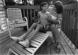 AIDS sufferer Ryan White and his mother, Jeanne White, at their new home, Cicero, Indiana, July...