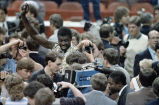 Yvon Joseph after Georgia Tech's victory at the 1985 ACC champsionship against the North Carolina...