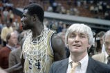 Yvon Joseph and coach Bobby Cremins following Georgia Tech's victory at the 1985 ACC champsionship...
