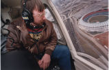 Traffic reporter, Herb Emory, from WSB Radio, giving a traffic report from a helicopter....