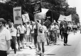 Will Simson, co-founder of ACT UP, marching in the Gay Pride Day celebration, Atlanta, Georgia,...