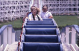Carter staff on roller coaster, during visit by Amy Carter, Six Flags Over Georgia, Cobb County,...