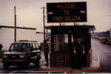 Military Police Large and Anderson at Jonesboro Road gate, Fort Gillem, Forest Park, Georgia,...