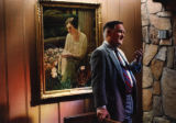 Bo Callaway at Callaway Gardens Memorial Chapel, with a portrait of his grandmother Ida Cason...