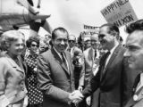 Bo Callaway greeting Republican presidential candidate Richard M. Nixon and wife Pat at Georgia...
