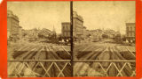 "Stereoscopic photograph of railroad tracks leading into the second ""Union Station"" or..."