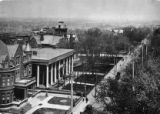 Bird's-eye view of Peachtree Street, showing the Governor's Mansion, the Leyden House, and the...