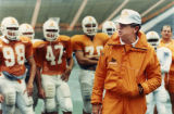 College football coach Johnny Majors with the Tennesse Volunteers during practice, September 26,...