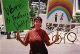 Lisa Larkin protesting domestic partner legislation outside City Hall, Atlanta, Georgia, July 6,...