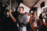 Gays and lesbians protest Mayor Maynard Jackson's veto of one of two proposed domestic partnership...