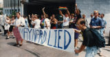 Gay rights activists protest Mayor Maynard Jackson's veto of the city's domestic partner benefits...