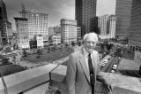 Former Atlanta Mayor Ivan Allen, Jr., atop the 10 Park Place building, overlooking Woodruff Park,...