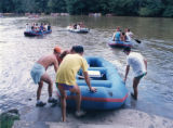Rafts being launched into the Chattahoochee River from Powers Ferry Road, for the 16th annual gay...