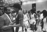 University of Georgia player Janet Harris congratulating Georgia State Assistant Coach Julius...