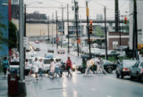 GSU students crossing Decatur Street at Piedmont Avenue, Georgia State University, Atlanta,...