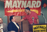 Rev. Joseph E. Lowery (right) and mayoral candidate Maynard Jackson at Paschal's Motor Hotel,...