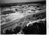 Aerial view of the construction of the Cuartel Barracks at Fort Benning, Georgia, between 1930 and...