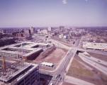 Downtown Atlanta, looking northwest on the Heart of Atlanta Motel, now the Hilton Atlanta hotel,...