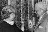 Mayor Ivan Allen and Margeurite Bridges examine a dogwood tree, Atlanta, Georgia, March 1969.